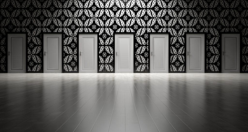 wall with many doors
